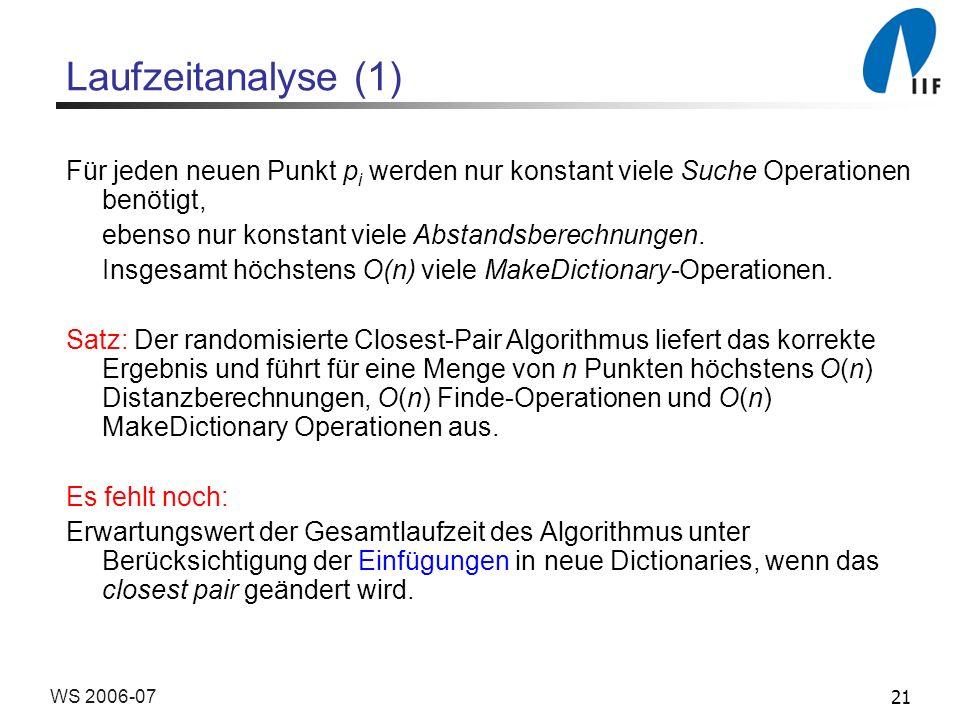 21WS 2006-07 Laufzeitanalyse (1) Für jeden neuen Punkt p i werden nur konstant viele Suche Operationen benötigt, ebenso nur konstant viele Abstandsber