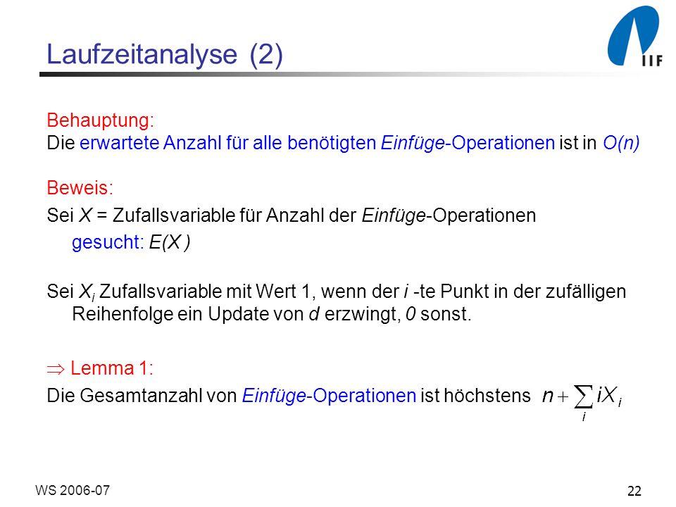 22WS 2006-07 Laufzeitanalyse (2) Behauptung: Die erwartete Anzahl für alle benötigten Einfüge-Operationen ist in O(n) Beweis: Sei X = Zufallsvariable