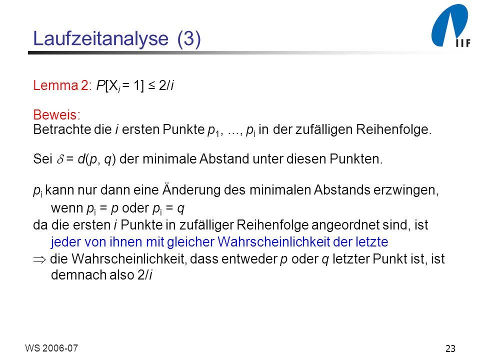 23WS 2006-07 Laufzeitanalyse (3) Lemma 2: P[X i = 1] 2/i Beweis: Betrachte die i ersten Punkte p 1,..., p i in der zufälligen Reihenfolge. Sei = d(p,