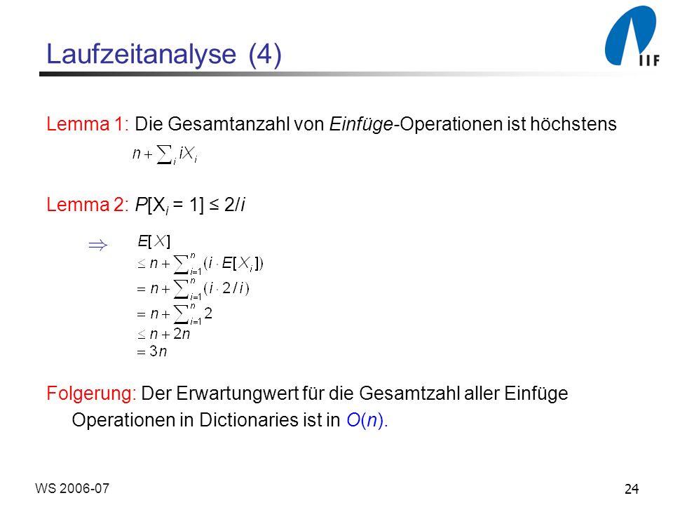 24WS 2006-07 Laufzeitanalyse (4) Lemma 1: Die Gesamtanzahl von Einfüge-Operationen ist höchstens Lemma 2: P[X i = 1] 2/i Folgerung: Der Erwartungwert