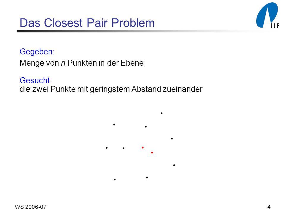 4WS 2006-07 Das Closest Pair Problem Gegeben: Menge von n Punkten in der Ebene Gesucht: die zwei Punkte mit geringstem Abstand zueinander