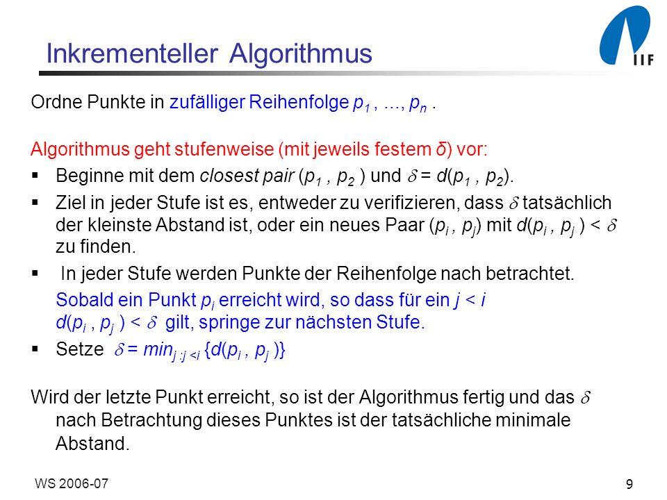 9WS 2006-07 Inkrementeller Algorithmus Ordne Punkte in zufälliger Reihenfolge p 1,..., p n. Algorithmus geht stufenweise (mit jeweils festem δ) vor: B