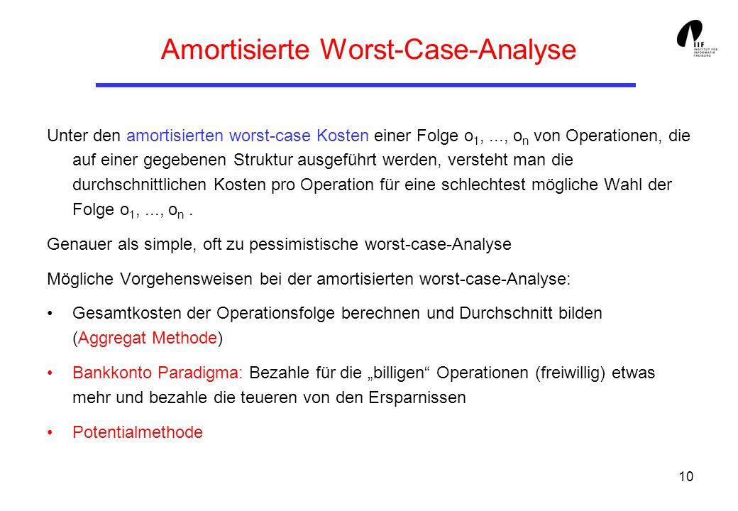 10 Amortisierte Worst-Case-Analyse Unter den amortisierten worst-case Kosten einer Folge o 1,..., o n von Operationen, die auf einer gegebenen Struktu