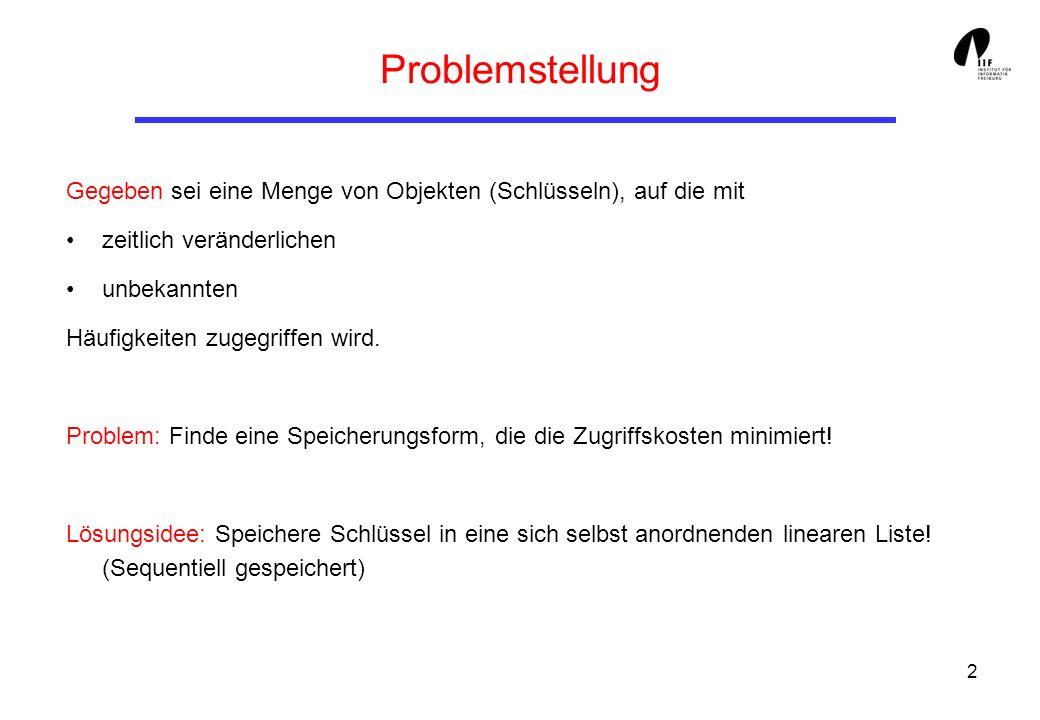 2 Problemstellung Gegeben sei eine Menge von Objekten (Schlüsseln), auf die mit zeitlich veränderlichen unbekannten Häufigkeiten zugegriffen wird. Pro