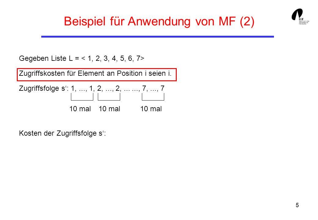 5 Beispiel für Anwendung von MF (2) Gegeben Liste L = Zugriffskosten für Element an Position i seien i. Zugriffsfolge s: 1,..., 1, 2,..., 2,......, 7,