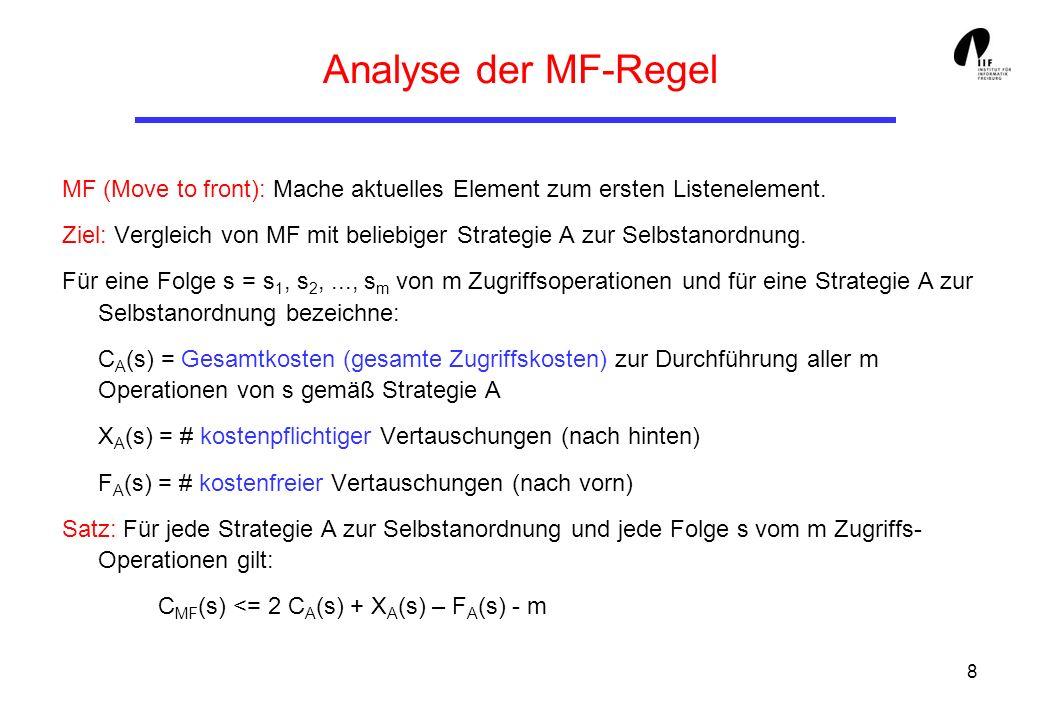 8 Analyse der MF-Regel MF (Move to front): Mache aktuelles Element zum ersten Listenelement. Ziel: Vergleich von MF mit beliebiger Strategie A zur Sel
