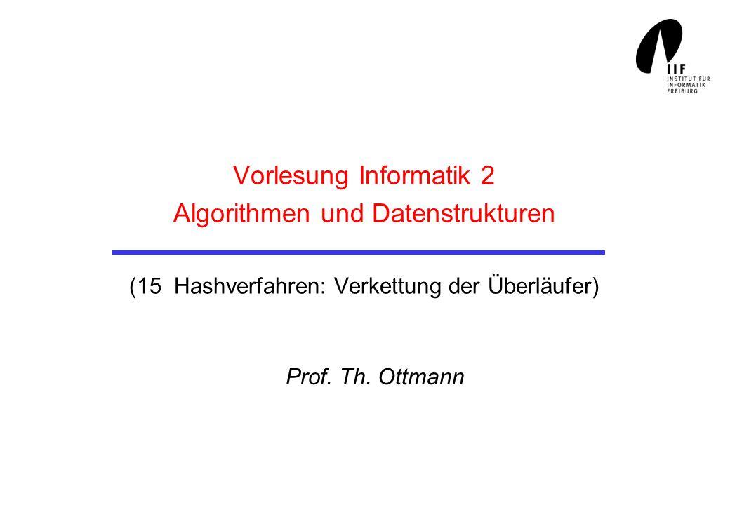 Vorlesung Informatik 2 Algorithmen und Datenstrukturen (15 Hashverfahren: Verkettung der Überläufer) Prof. Th. Ottmann