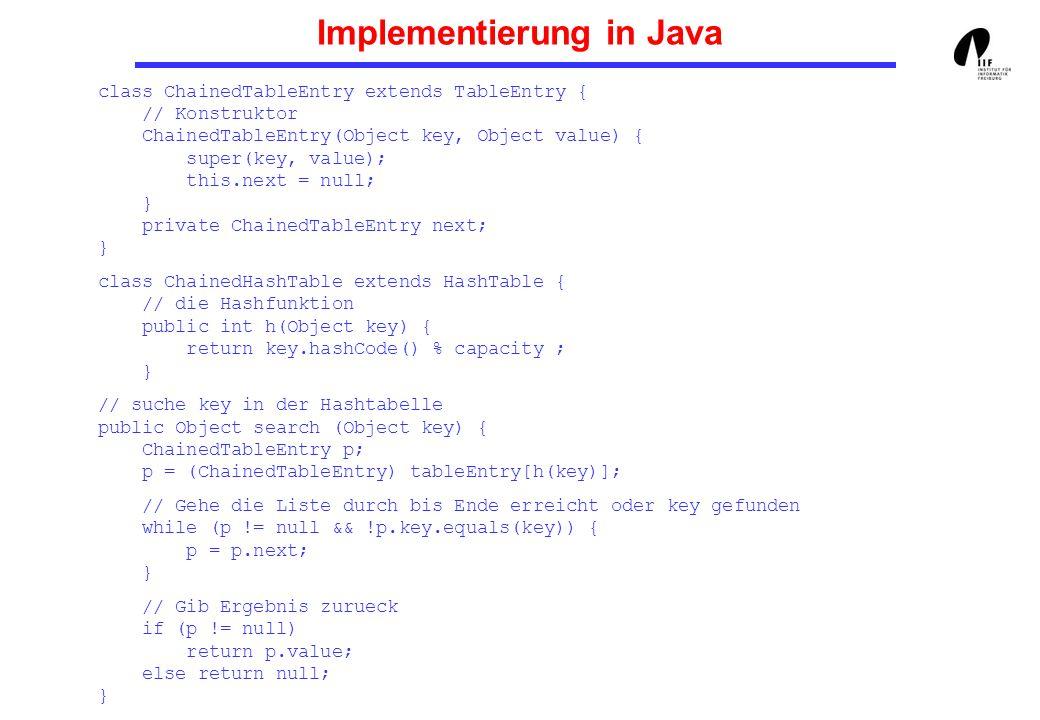 Implementierung in Java /* fuege ein Element mit Schluessel key und Wert value ein (falls nicht vorhanden) */ public void insert (Object key, Object value) { ChainedTableEntry entry = new ChainedTableEntry(key, value); // Hole den Tabelleneintrag fuer key int k = h (key); ChainedTableEntry p; p = (ChainedTableEntry) tableEntry [k]; if (p == null){ tableEntry[k] = entry; return ; } // Suche nach key while (!p.key.equals(key) && p.next != null) { p = p.next; } // Fuege das Element ein (falls nicht vorhanden) if (!p.key.equals(key)) p.next = entry; }