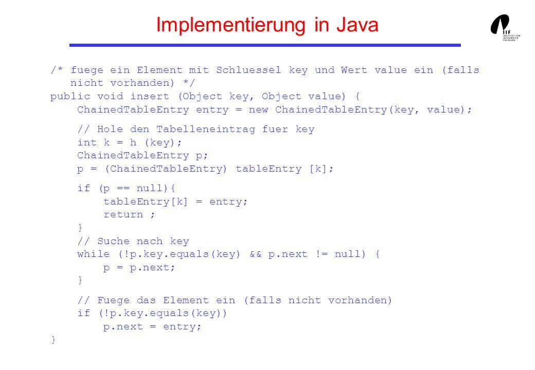 Implementierung in Java // entferne das Element mit Schluessel key (falls vorhanden) public void delete (Object key) { int k = h (key); ChainedTableEntry p; p = (ChainedTableEntry) TableEntry [k]; TableEntry[k] = recDelete(p, key); } // entferne das Element mit Schluessel key rekursiv (falls vorhanden) public ChainedTableEntry recDelete (ChainedTableEntry p, Object key) { /* recDelete gibt einen Zeiger auf den Beginn der Liste, auf die p zeigt, zurueck, in der key entfernt wurde */ if (p == null) return null; if (p.key.equals(key)) return p.getNext(); // ansonsten: p.next = recDelete(p.next, key); return p; } public void printTable () {...} } // class ChainedHashTable
