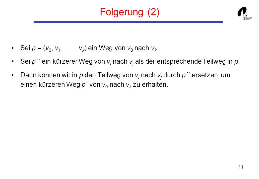 11 Folgerung (2) Sei p = (v 0, v 1,..., v k ) ein Weg von v 0 nach v k.