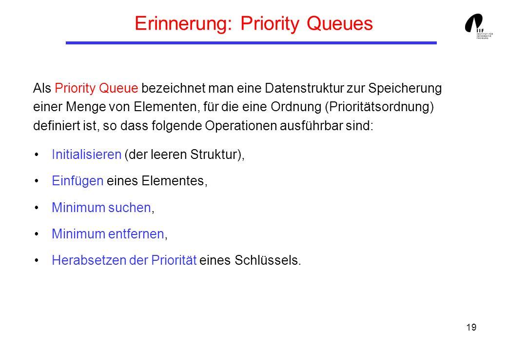 19 Erinnerung: Priority Queues Initialisieren (der leeren Struktur), Einfügen eines Elementes, Minimum suchen, Minimum entfernen, Herabsetzen der Priorität eines Schlüssels.