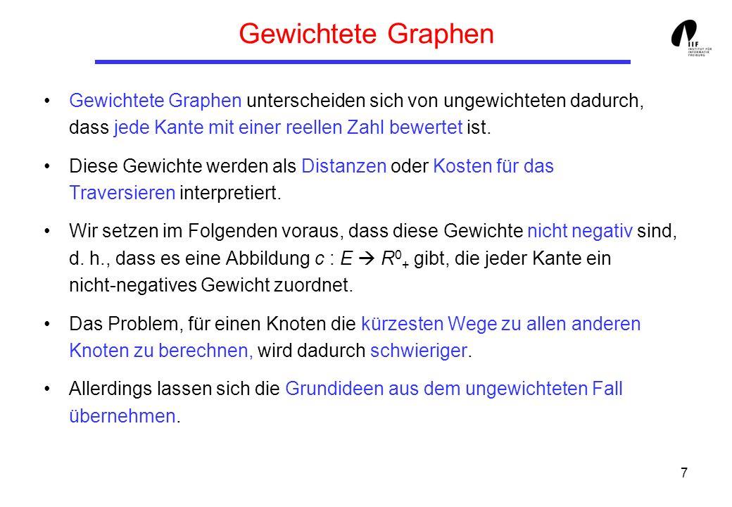 7 Gewichtete Graphen Gewichtete Graphen unterscheiden sich von ungewichteten dadurch, dass jede Kante mit einer reellen Zahl bewertet ist.