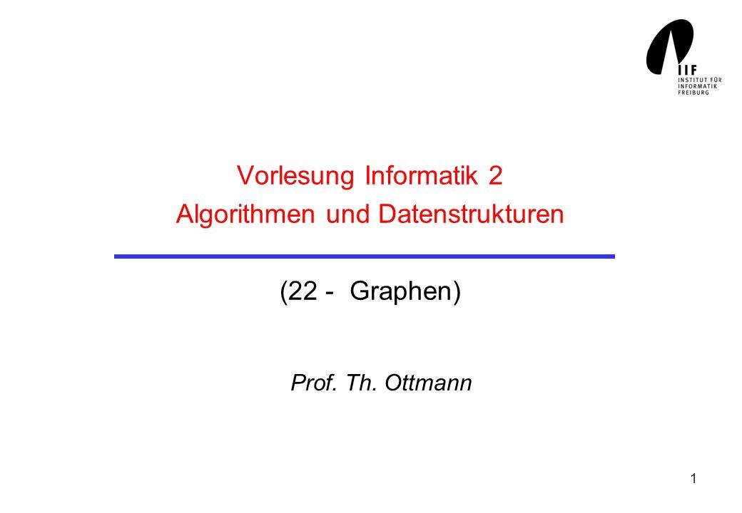 1 Vorlesung Informatik 2 Algorithmen und Datenstrukturen (22 - Graphen) Prof. Th. Ottmann