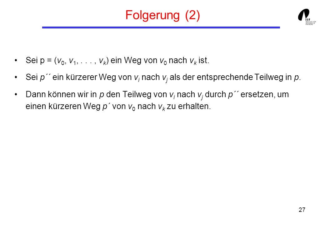 27 Folgerung (2) Sei p = (v 0, v 1,..., v k ) ein Weg von v 0 nach v k ist.