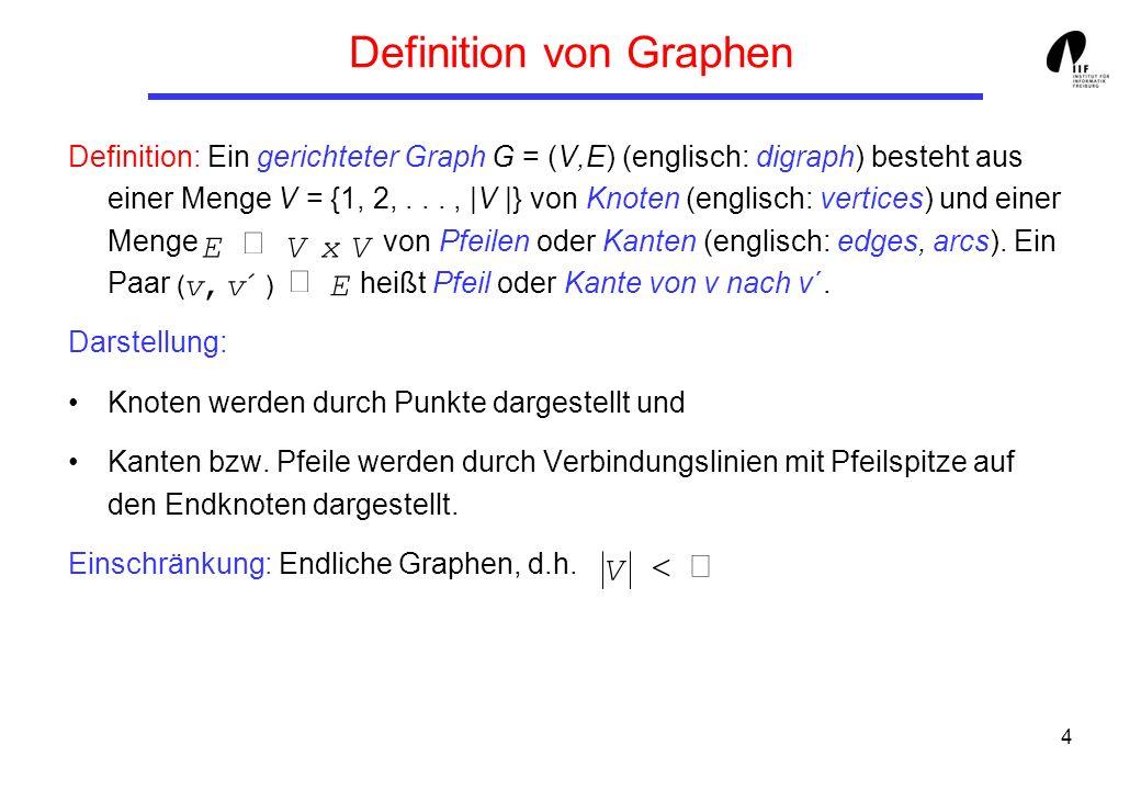 4 Definition von Graphen Definition: Ein gerichteter Graph G = (V,E) (englisch: digraph) besteht aus einer Menge V = {1, 2,..., |V |} von Knoten (englisch: vertices) und einer Menge von Pfeilen oder Kanten (englisch: edges, arcs).