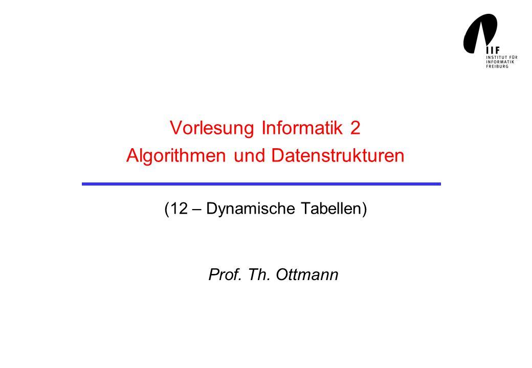 Vorlesung Informatik 2 Algorithmen und Datenstrukturen (12 – Dynamische Tabellen) Prof. Th. Ottmann