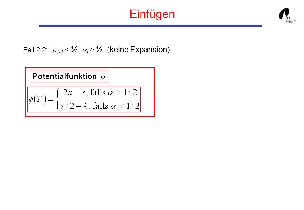 Einfügen Fall 2.2: i-1 < ½, i ½ (keine Expansion) Potentialfunktion