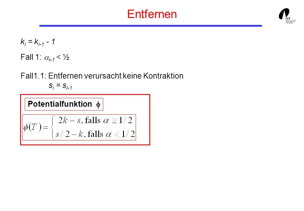 Entfernen k i = k i-1 - 1 Fall 1: i-1 < ½ Fall1.1: Entfernen verursacht keine Kontraktion s i = s i-1 Potentialfunktion