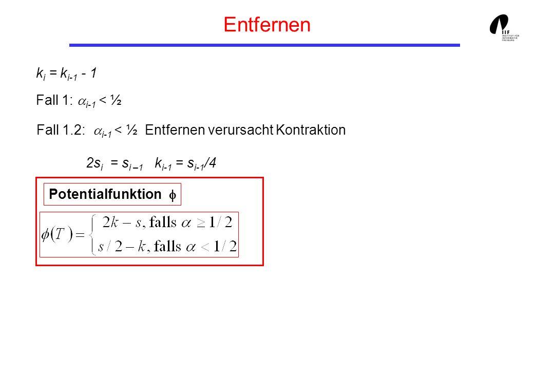 Entfernen Fall 1.2: i-1 < ½ Entfernen verursacht Kontraktion 2s i = s i –1 k i-1 = s i-1 /4 k i = k i-1 - 1 Fall 1: i-1 < ½ Potentialfunktion