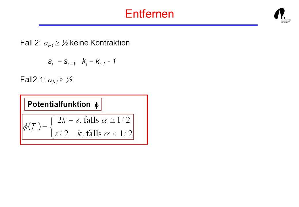 Entfernen Fall 2: i-1 ½ keine Kontraktion s i = s i –1 k i = k i-1 - 1 Fall2.1: i-1 ½ Potentialfunktion