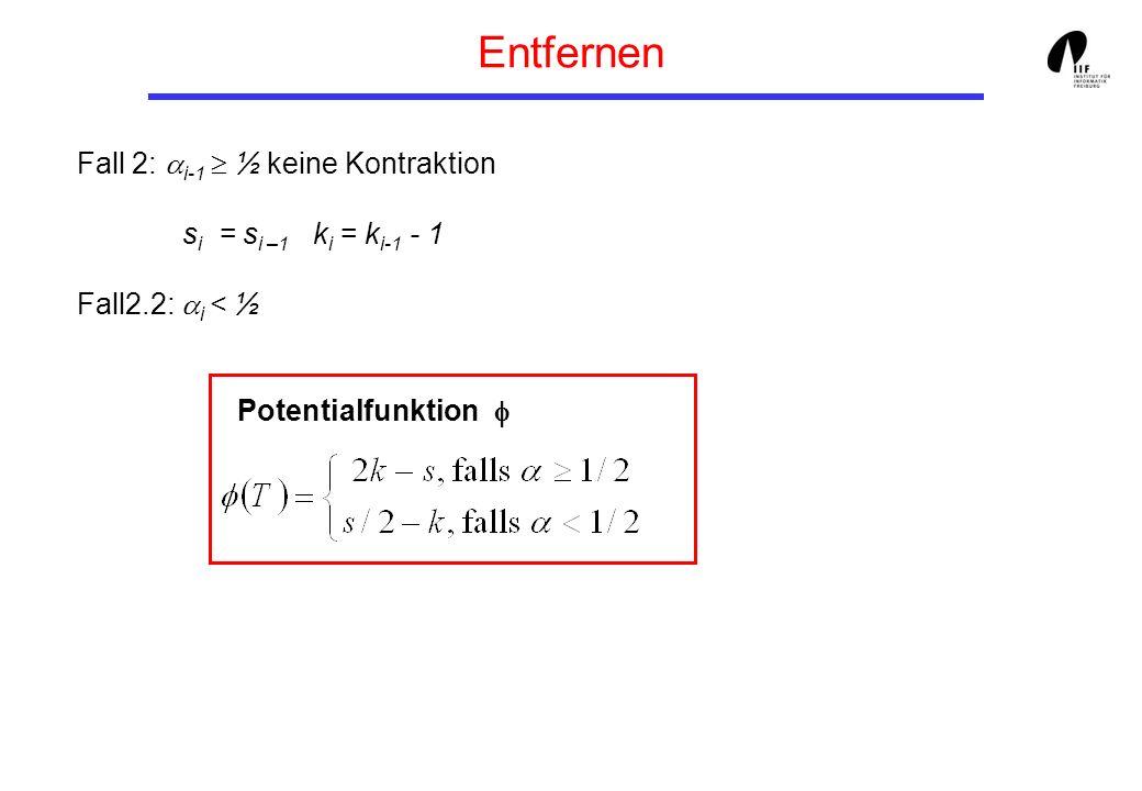 Entfernen Fall 2: i-1 ½ keine Kontraktion s i = s i –1 k i = k i-1 - 1 Fall2.2: i < ½ Potentialfunktion