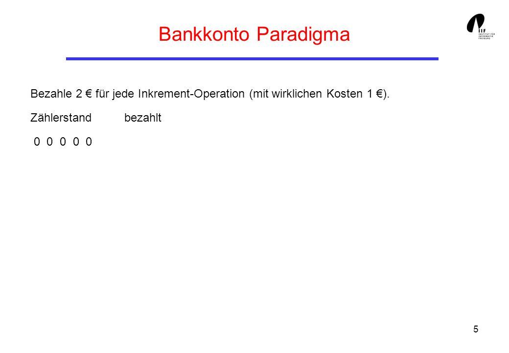 5 Bankkonto Paradigma Bezahle 2 für jede Inkrement-Operation (mit wirklichen Kosten 1 ).