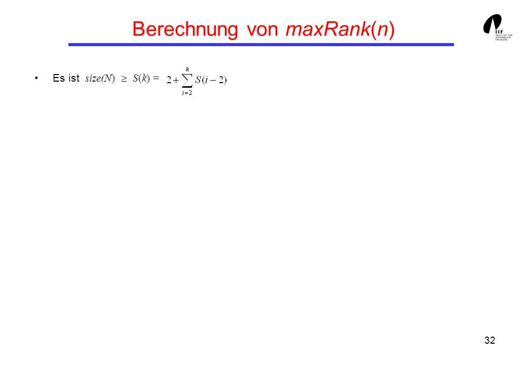 32 Berechnung von maxRank(n) Es ist size(N) S(k) =