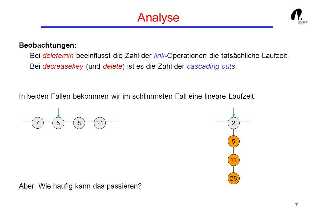 7 Analyse Beobachtungen: Bei deletemin beeinflusst die Zahl der link-Operationen die tatsächliche Laufzeit.