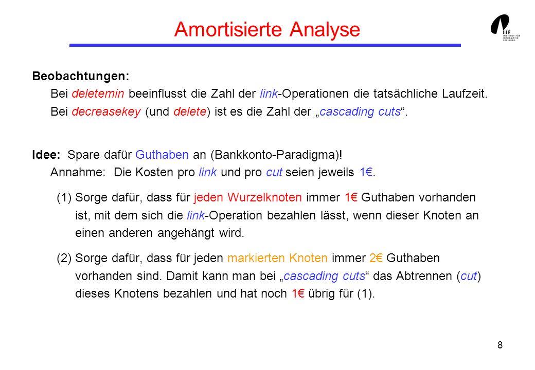 8 Amortisierte Analyse Beobachtungen: Bei deletemin beeinflusst die Zahl der link-Operationen die tatsächliche Laufzeit.