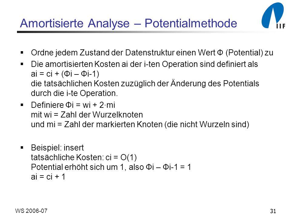 31WS 2006-07 Amortisierte Analyse – Potentialmethode Ordne jedem Zustand der Datenstruktur einen Wert Ф (Potential) zu Die amortisierten Kosten ai der