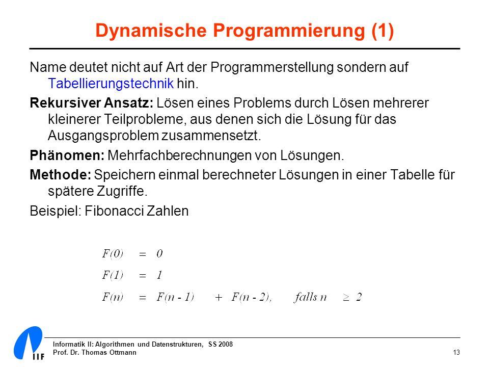 Informatik II: Algorithmen und Datenstrukturen, SS 2008 Prof. Dr. Thomas Ottmann13 Dynamische Programmierung (1) Name deutet nicht auf Art der Program
