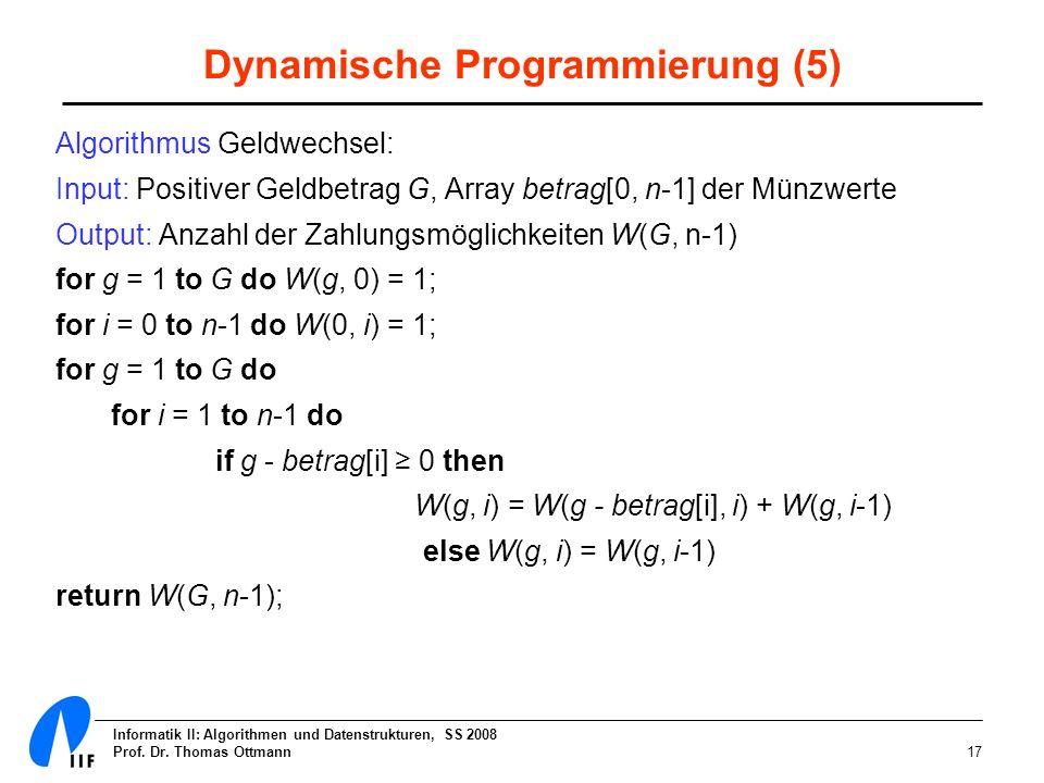 Informatik II: Algorithmen und Datenstrukturen, SS 2008 Prof. Dr. Thomas Ottmann17 Dynamische Programmierung (5) Algorithmus Geldwechsel: Input: Posit