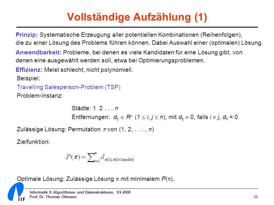 Informatik II: Algorithmen und Datenstrukturen, SS 2008 Prof. Dr. Thomas Ottmann20 Beispiel: Travelling Salesperson-Problem (TSP) Problem-Instanz: Stä