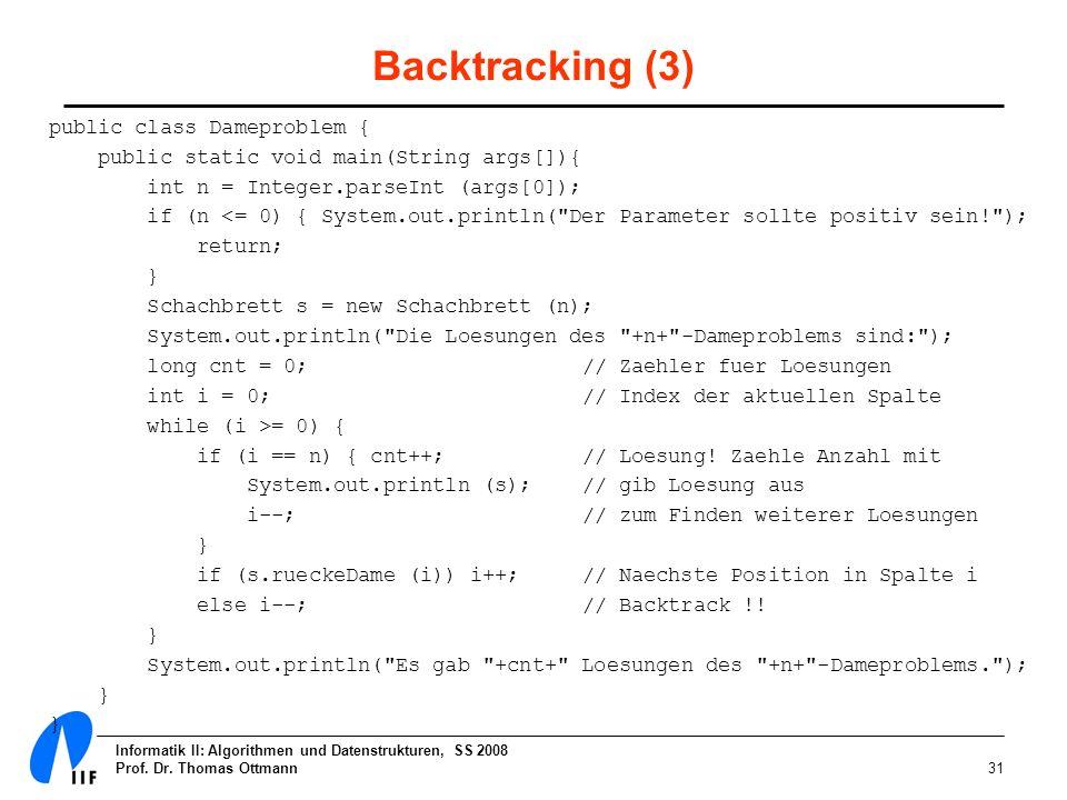 Informatik II: Algorithmen und Datenstrukturen, SS 2008 Prof. Dr. Thomas Ottmann31 Backtracking (3) public class Dameproblem { public static void main