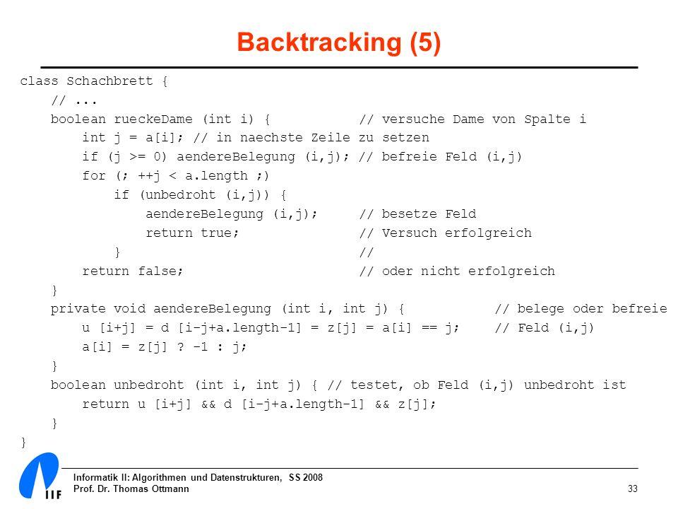 Informatik II: Algorithmen und Datenstrukturen, SS 2008 Prof. Dr. Thomas Ottmann33 Backtracking (5) class Schachbrett { //... boolean rueckeDame (int