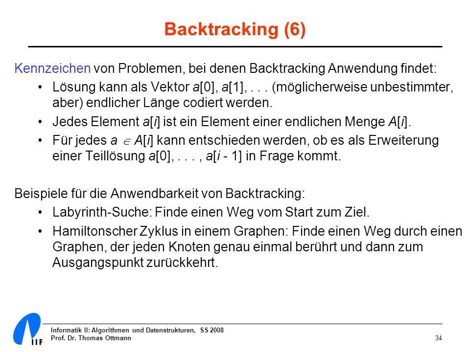 Informatik II: Algorithmen und Datenstrukturen, SS 2008 Prof. Dr. Thomas Ottmann34 Backtracking (6) Kennzeichen von Problemen, bei denen Backtracking