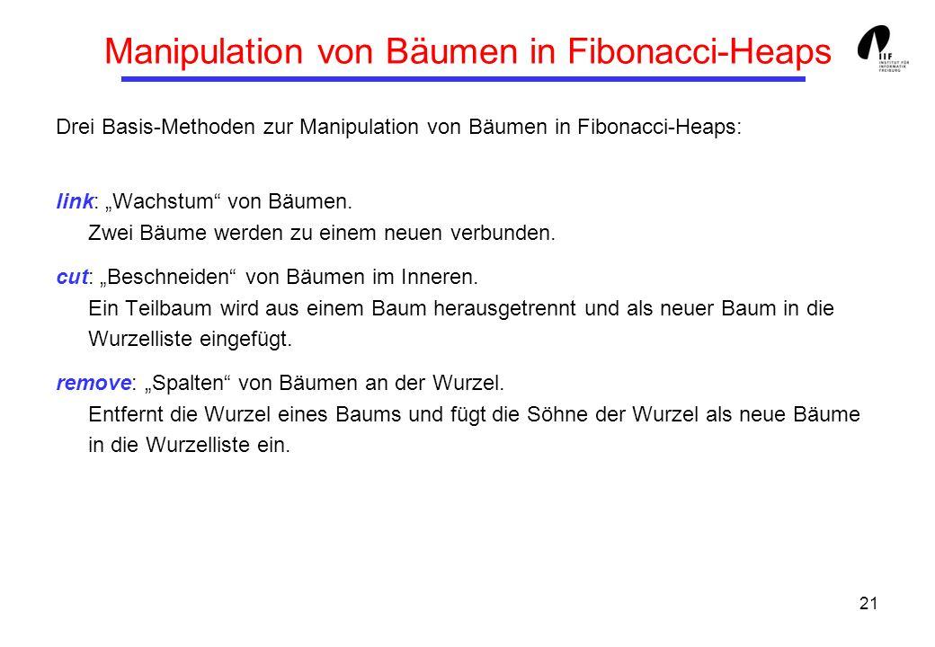 21 Manipulation von Bäumen in Fibonacci-Heaps Drei Basis-Methoden zur Manipulation von Bäumen in Fibonacci-Heaps: link: Wachstum von Bäumen. Zwei Bäum