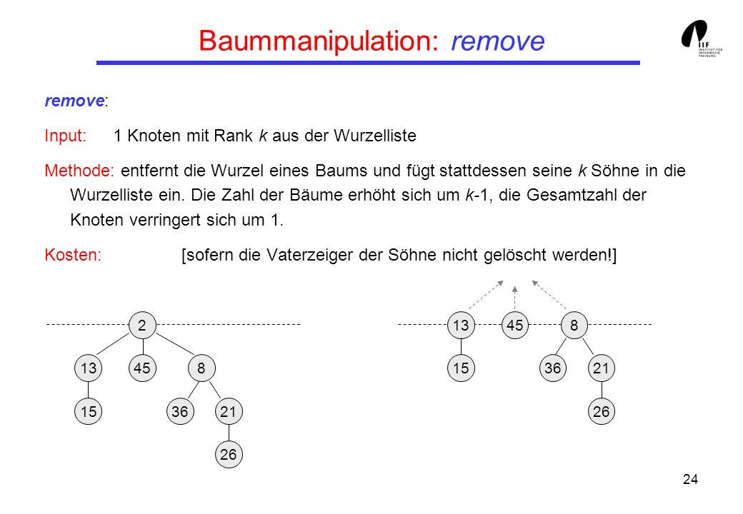 24 Baummanipulation: remove remove: Input:1 Knoten mit Rank k aus der Wurzelliste Methode: entfernt die Wurzel eines Baums und fügt stattdessen seine