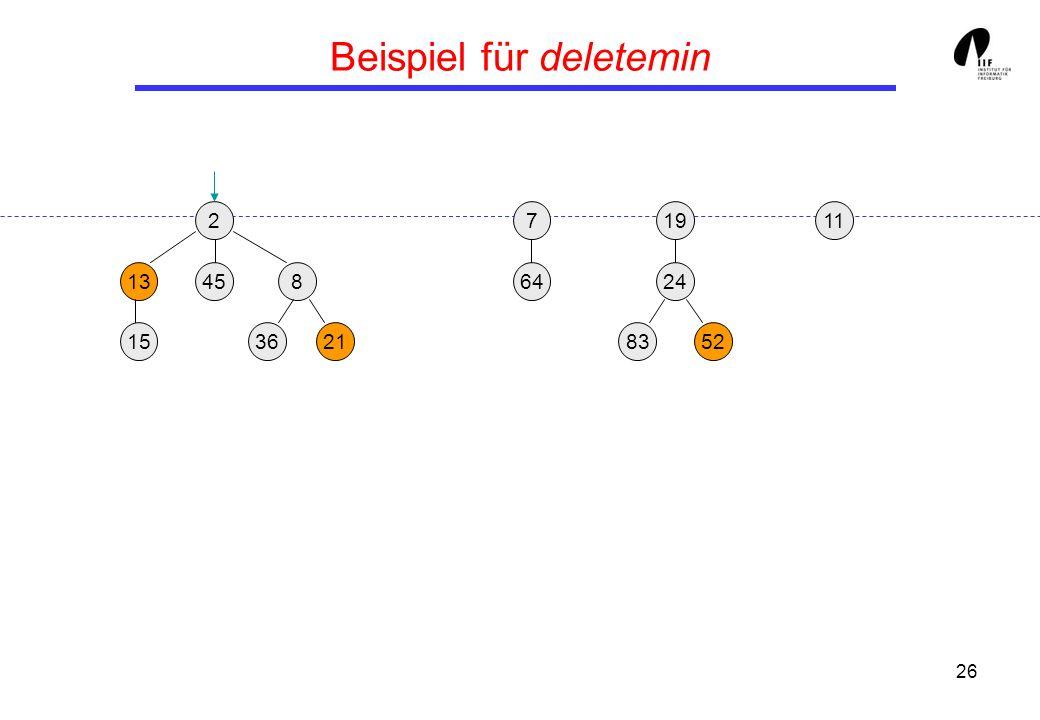 26 Beispiel für deletemin 219 13458 3621 24 158352 117 64