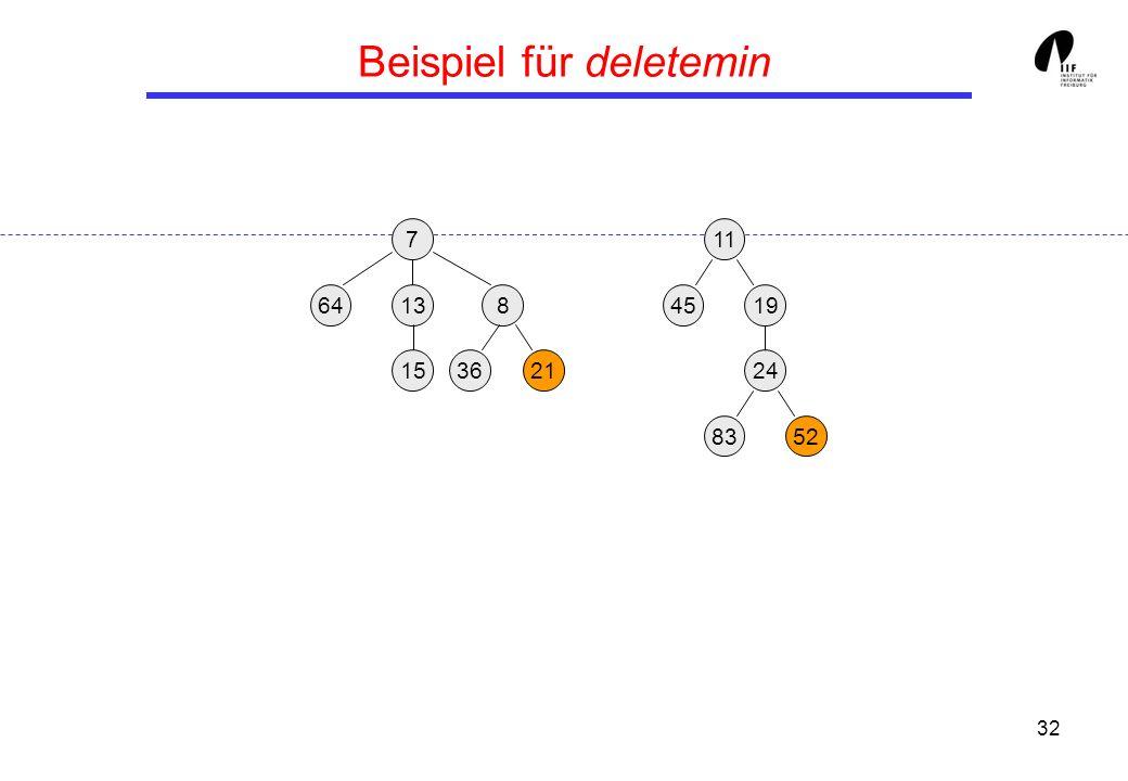 32 Beispiel für deletemin 1913458 3621 24 15 8352 117 64