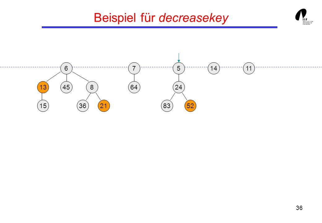 36 Beispiel für decreasekey 65 13458 3621 24 158352 117 64 14