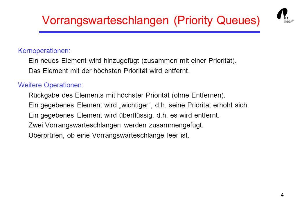 4 Vorrangswarteschlangen (Priority Queues) Kernoperationen: Ein neues Element wird hinzugefügt (zusammen mit einer Priorität).