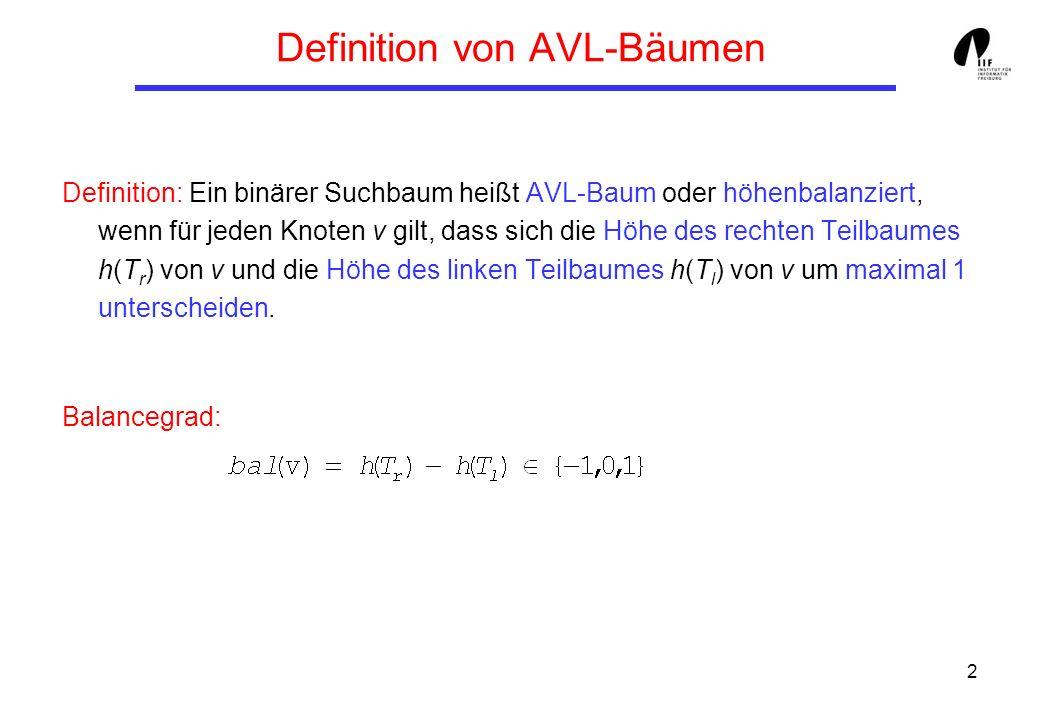 2 Definition von AVL-Bäumen Definition: Ein binärer Suchbaum heißt AVL-Baum oder höhenbalanziert, wenn für jeden Knoten v gilt, dass sich die Höhe des rechten Teilbaumes h(T r ) von v und die Höhe des linken Teilbaumes h(T l ) von v um maximal 1 unterscheiden.