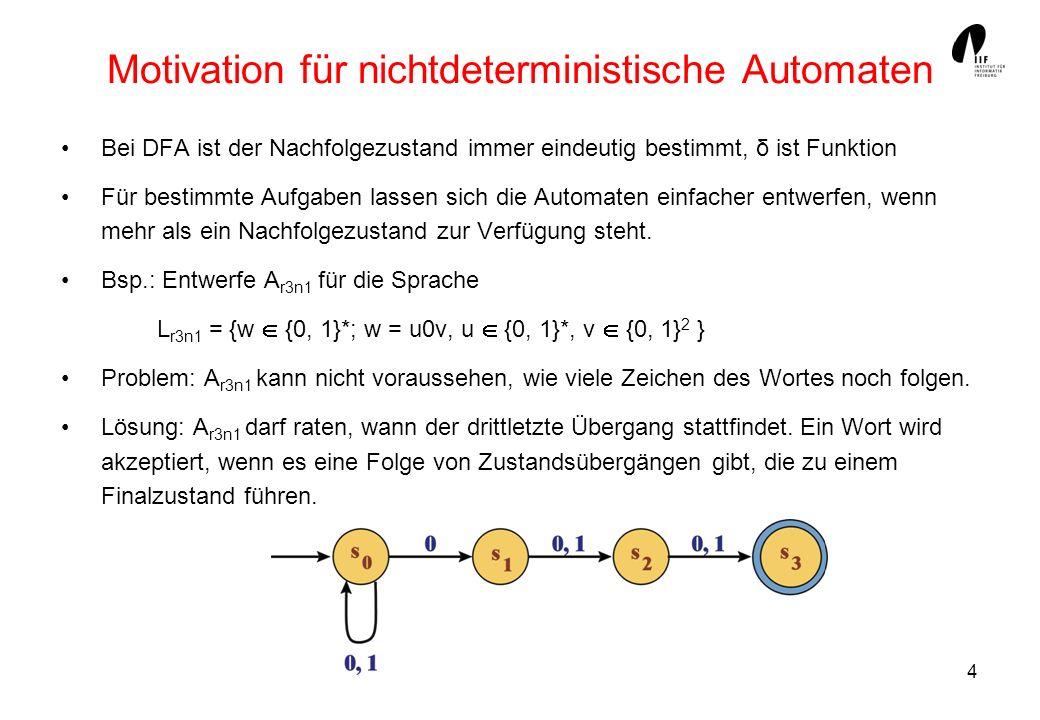 5 Nichtdeterministische endliche Automaten Ein Nichtdeterministischer endlicher Automat (NFA) besteht aus einer endlichen Menge S von Zuständen einer endlichen Menge von Eingabezeichen Einer Menge von Anfangszuständen S 0 S einer Endzustandsmenge F S einer Zustandsübergangsrelation δ S x x S Kurz: A = (S,, δ, S 0, F) δ kann als Menge von Tripeln (s, a, t) oder als Tabelle mit Mengen-Einträgen notiert werden, Bsp.: δ = {(s 0, 0, s 0 ), (s 0, 0, s 1 ), (s 0, 1, s 0 ), (s 1, 1, s 2 ), (s 2, 0, s 3 ), (s 2, 1, s 3 )}