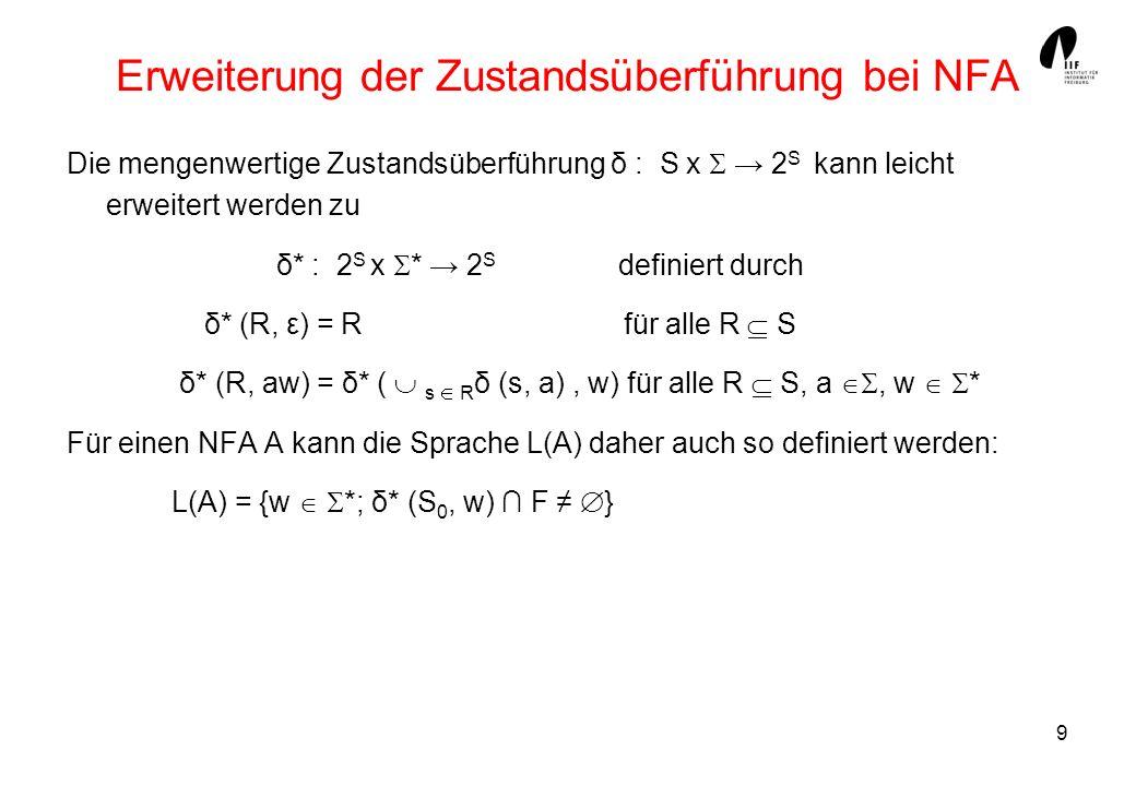9 Erweiterung der Zustandsüberführung bei NFA Die mengenwertige Zustandsüberführung δ : S x 2 S kann leicht erweitert werden zu δ* : 2 S x * 2 S definiert durch δ* (R, ε) = R für alle R S δ* (R, aw) = δ* ( s R δ (s, a), w) für alle R S, a, w * Für einen NFA A kann die Sprache L(A) daher auch so definiert werden: L(A) = {w *; δ* (S 0, w) F }