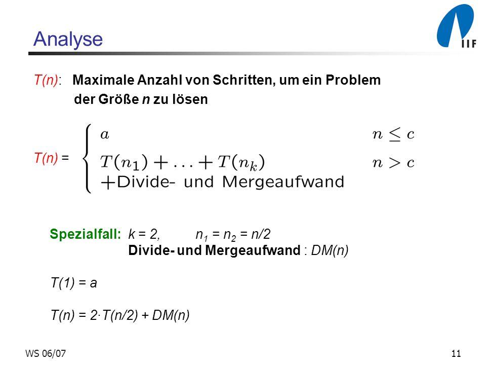 11WS 06/07 Analyse T(n): Maximale Anzahl von Schritten, um ein Problem der Größe n zu lösen T(n) = Spezialfall: k = 2, n 1 = n 2 = n/2 Divide- und Mergeaufwand : DM(n) T(1) = a T(n) = 2T(n/2) + DM(n)