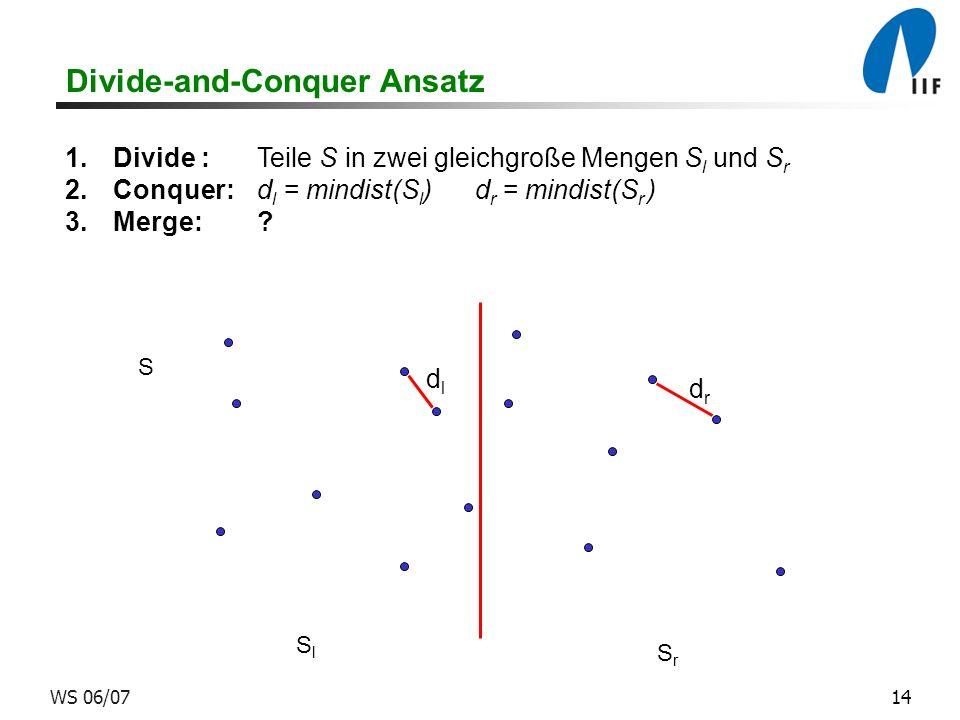 14WS 06/07 Divide-and-Conquer Ansatz 1.Divide :Teile S in zwei gleichgroße Mengen S l und S r 2.Conquer:d l = mindist(S l ) d r = mindist(S r ) 3.Merge:.