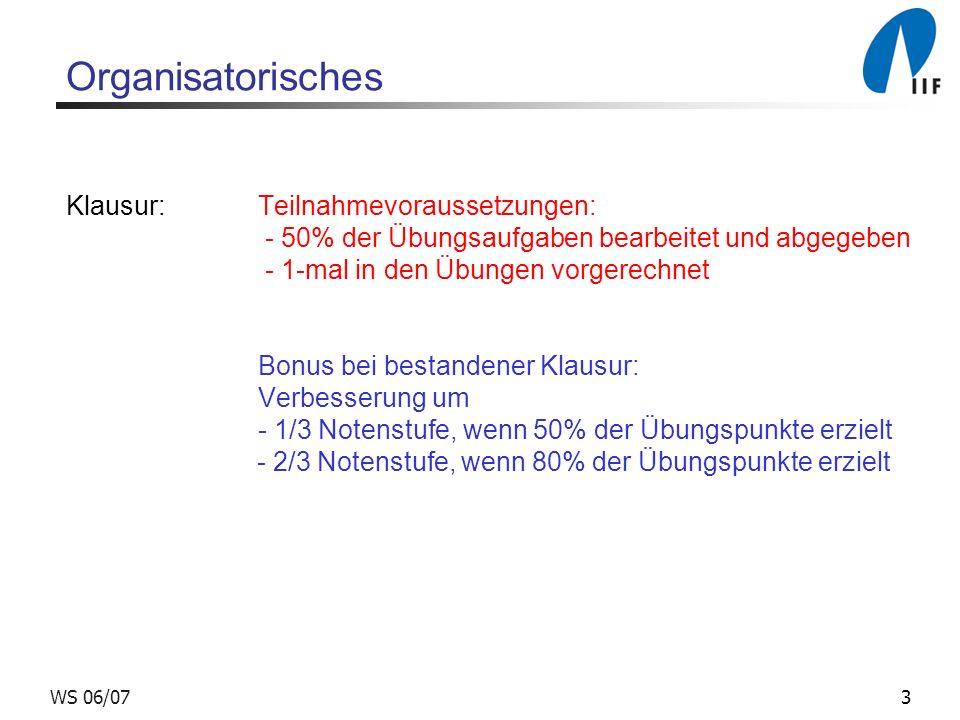 3WS 06/07 Organisatorisches Klausur:Teilnahmevoraussetzungen: - 50% der Übungsaufgaben bearbeitet und abgegeben - 1-mal in den Übungen vorgerechnet Bo