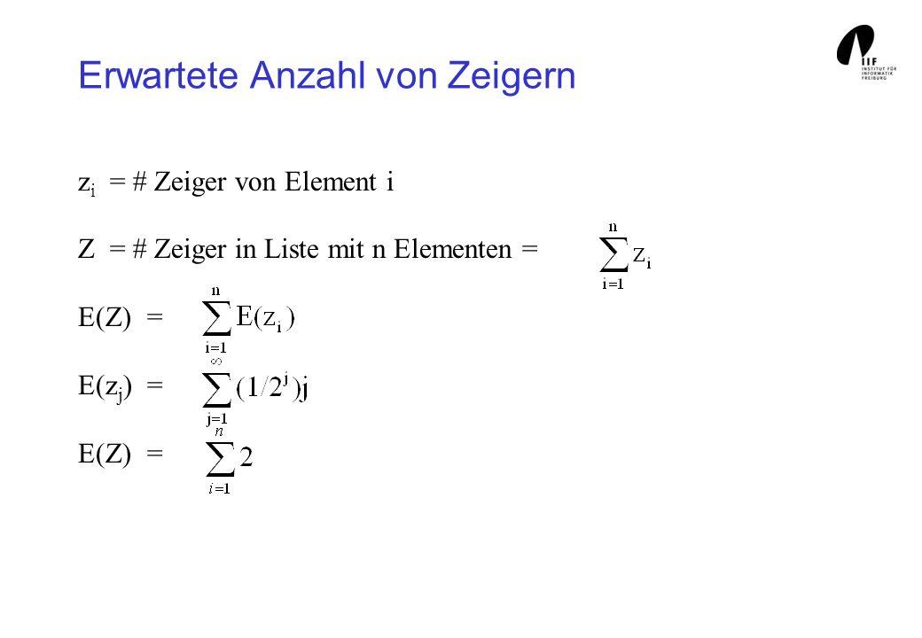 Erwartete Anzahl von Zeigern z i = # Zeiger von Element i Z = # Zeiger in Liste mit n Elementen = E(Z)= E(z j )= E(Z)=