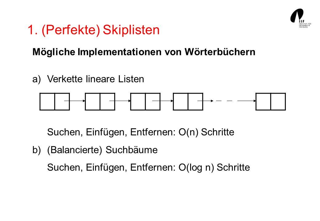 1. (Perfekte) Skiplisten Mögliche Implementationen von Wörterbüchern a)Verkette lineare Listen Suchen, Einfügen, Entfernen: O(n) Schritte b)(Balancier